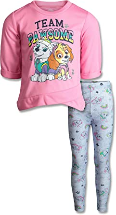 Paw Patrol Girls Fleece Long Sleeve Fashion Top /& Leggings Clothing Set