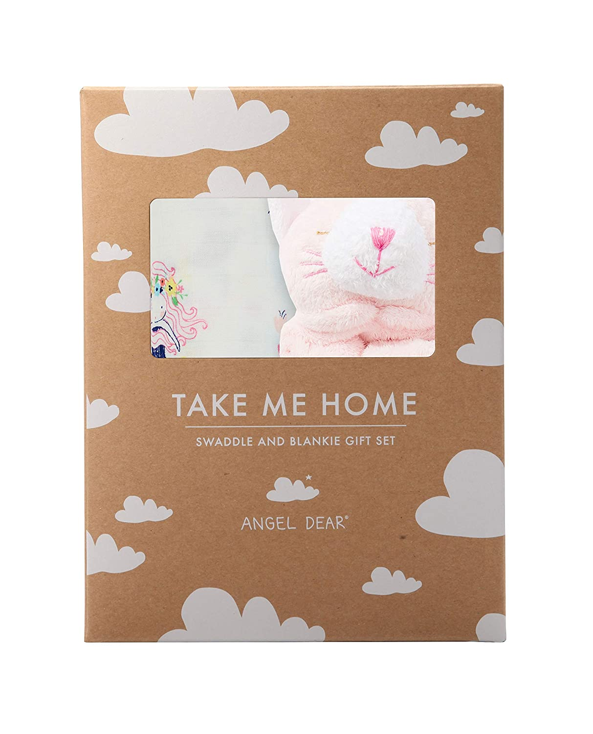 Angel Dear Swaddle and Blankie Gift Set, Mermaid and Friends with Pink Kitty