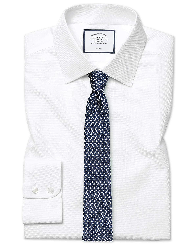 Chemise à Motif à Effet Tirets Blanche Extra Slim Fit Sans Repassage   Blanc (Poignet Simple)   17   37