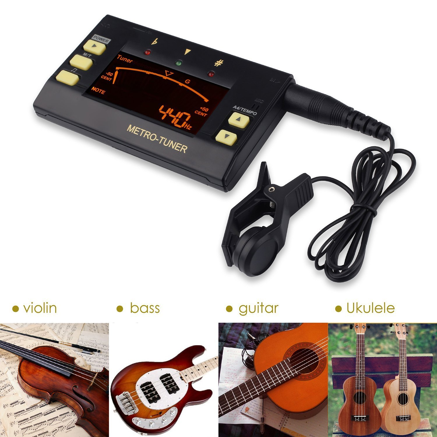 Mugig Metronome, Digital Tuner, Tone Generator 3 in 1 Multi-Instrument Device for Guitar, Bass, Violin, Ukulele, Chromatic Tuning, Large LCD Display, 8 Rhythms 30-250 BPM, Pickup & Battery Included