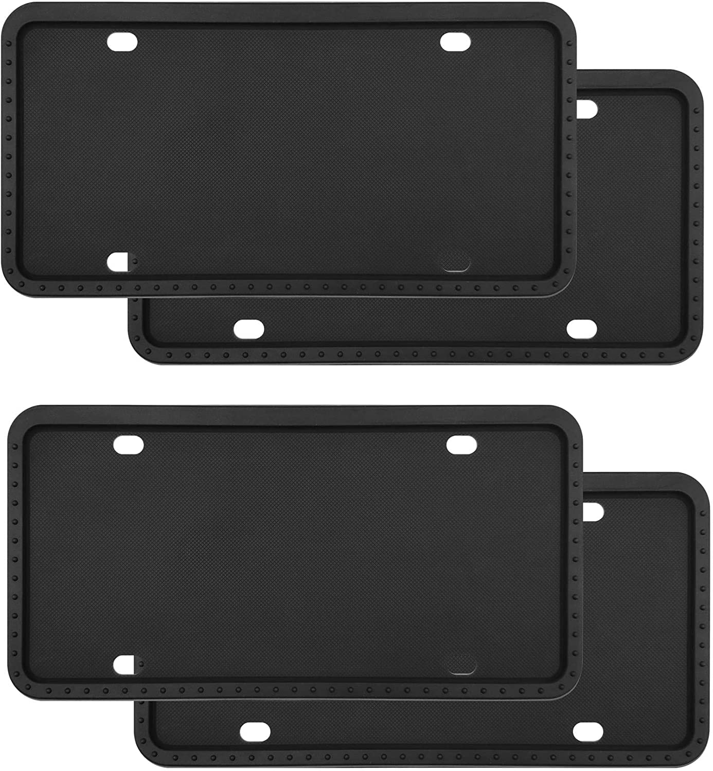 Rust-Proof,Rattle-Proof for Car License Plate Frame NICEASY 4 Pack Universal Silicone License Plate Frame,License Plate Holder,with Drainage Holes,Weather-Proof