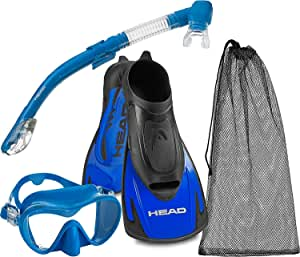 Head Italian Collection Single Tempered Glass Lens Dive Mask - Maximum Performance Dry Snorkel - Energy Training Fins - Travel Friendly Mask Fin Snorkel Set