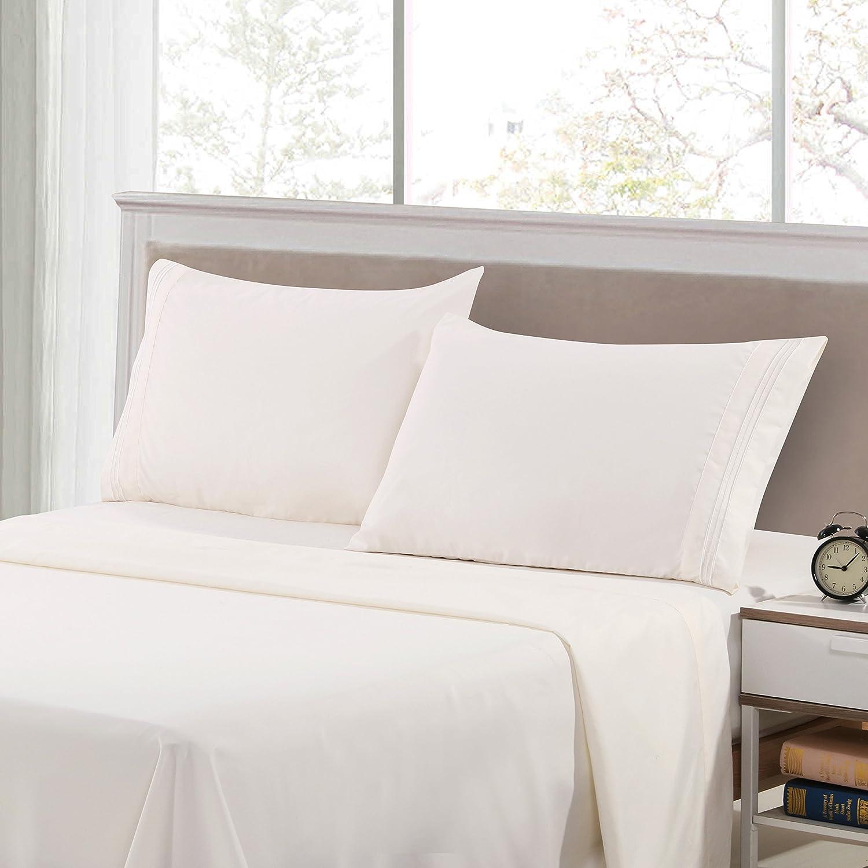 4 Piece Bed Sheets Set- HIGHEST QUALITY Brushed 1800 Bedding Series Sheet Set King White