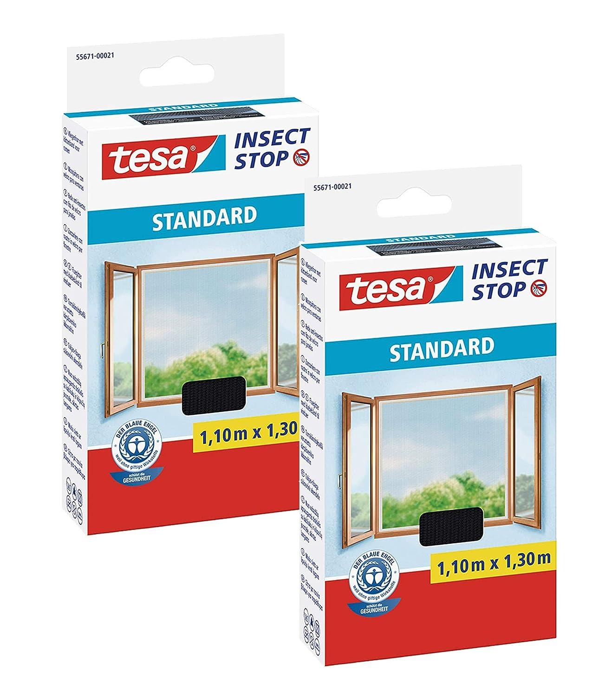 M/ückenschutz ohne Bohren Insektenschutz zuschneidbar 2 St/ück TESA Insect Stop STANDARD Fliegengitter f/ür Fenster