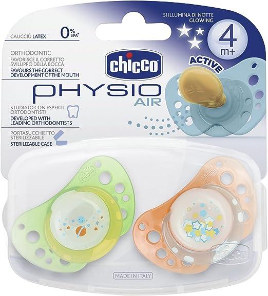 Chicco 72725410000 - Pack de 2 chupetes de caucho, esterilizados, fosforescente, color naranja y amarillo: Amazon.es: Bebé