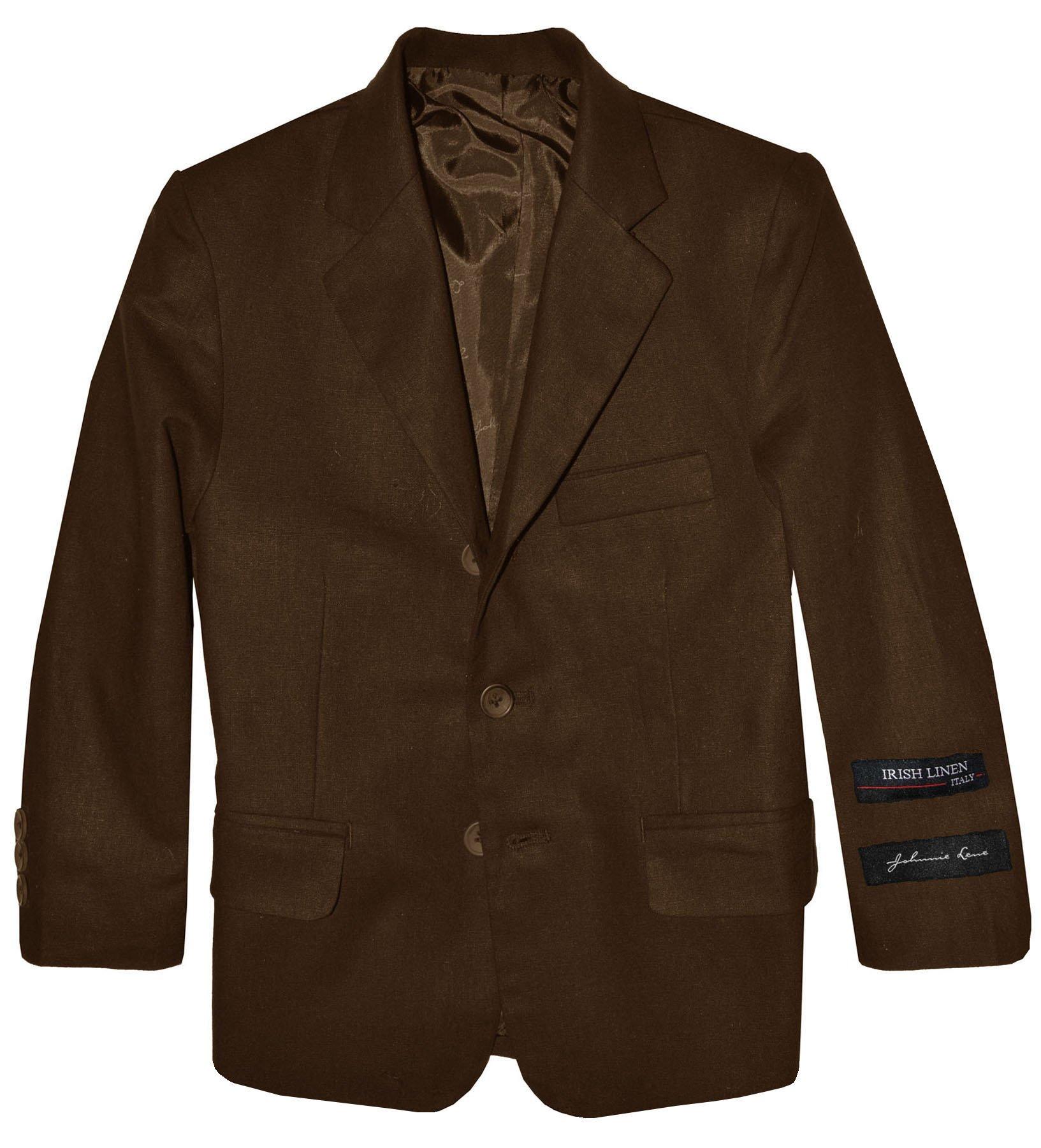 Johnnie Lene Boys' Cotton/Linen Blazer Jacket (5, Brown)