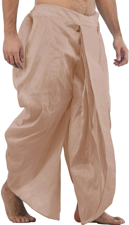Maenner-Dhoti-Dupion-Silk-Plain-handgefertigt-fuer-Pooja-Casual-Hochzeit-Wear Indexbild 51