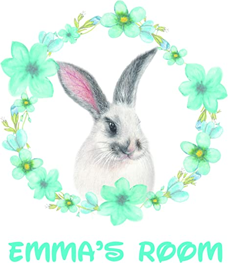 Amazon Com Cute Bunny Bunnies Easter Design Beautiful Personalized Names Custom Name Create Quote Quotes Wall Decals Decal Stickers Sticker Vinyl Art Decor Kids Decoration For Bedroom Size 20x20 Inch Home Kitchen