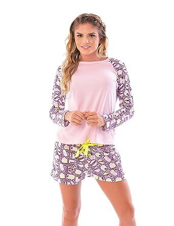 Womens Pajama Shorts & Long Sleeve top SET / 2 Piece PJ Matching Long Sleeve Top