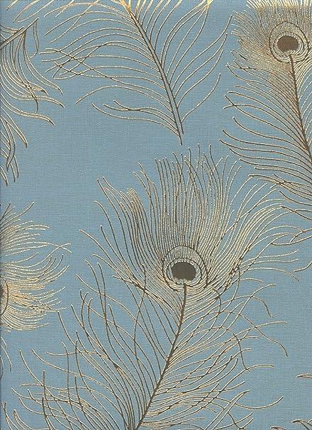 ET2017 York Enchantment Wallpaper Embossed Vinyl Textured Blue Gold