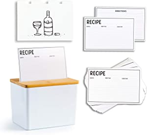 Clever Modern Premium Recipe Box Set With Cards and Dividers 100 4x6 Double Sided Recipe Cards with 8 Trendy Dividers Great Gift - Birthday Mother's Day Wedding Anniversary