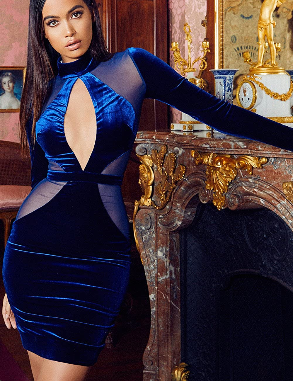 UONBOX Womens Long Sleeves Cut Out Mesh Velvet Cocktail Party Bandage Dress