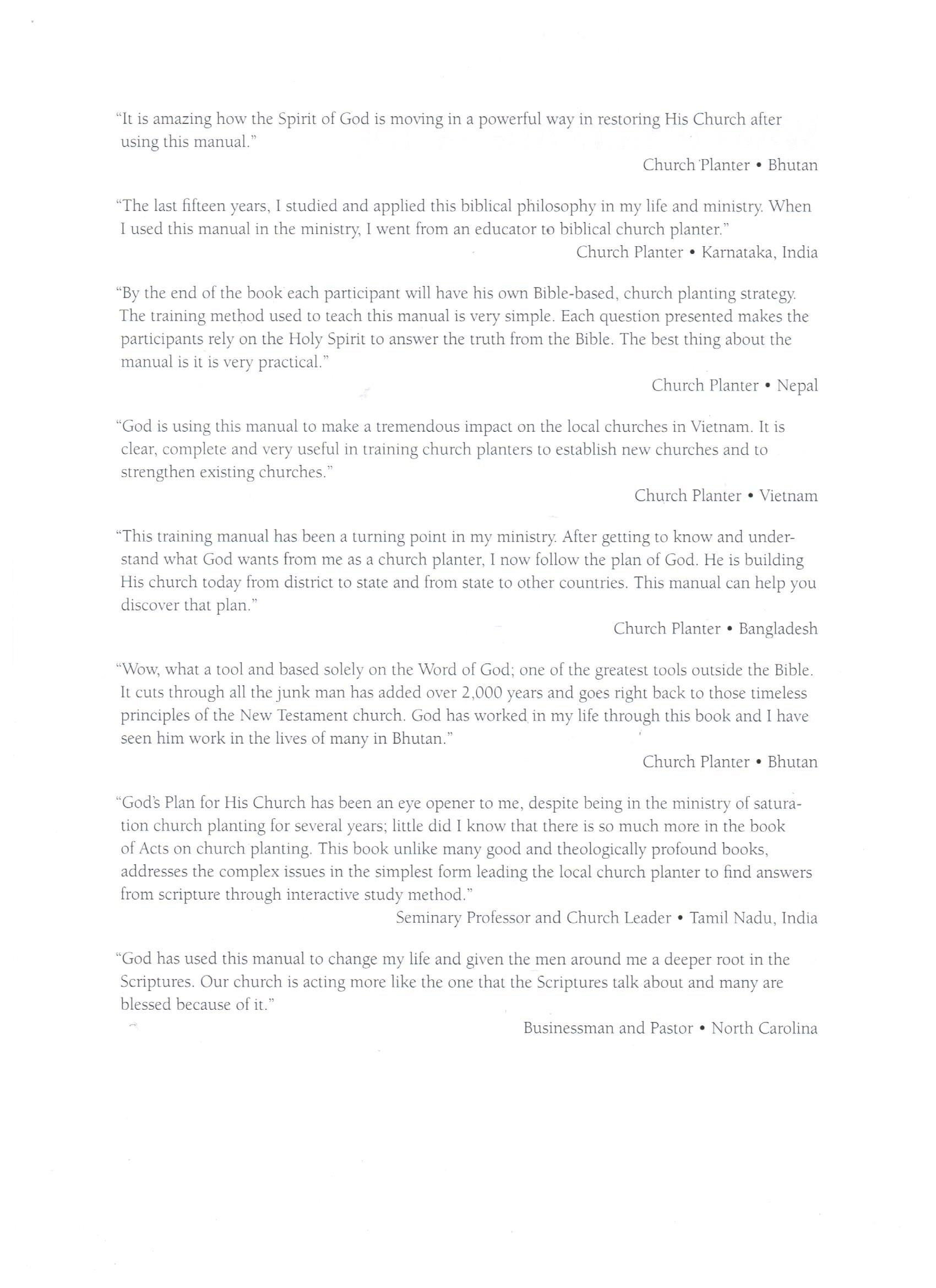 God's Plan for His Church : A Manual for Church Planting and Church  Renewal: Tim W Bunn: 9780983301622: Amazon.com: Books