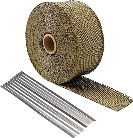 "S 2/"" x 50FT Exhaust Header Fiberglass Heat Wrap Tape w// 5 Steel Ties Titanium"