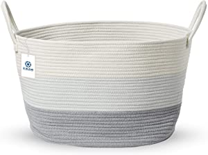 """XXXL Woven Rope Basket - 20""""x13"""" 100% Cotton Extra Large Round Storage Baskets For Blanket/Laundry Hamper/Towel/Throw/Pillow/Living Room/Floor - Big Decorative Toy Bin For Baby Nursery (Grey & White)"""