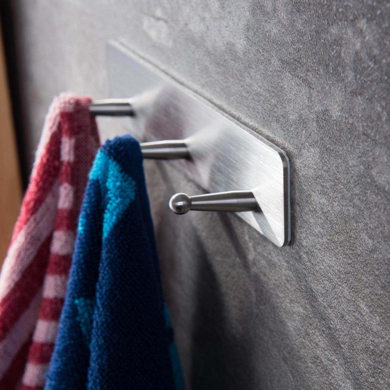 Taozun 3M Self Adhesive Hooks Rack 3-hooks Towel Hooks Bath Coat Robe Hooks Bathroom Kitchen Hooks Hand Dish Key Stick on Wall SUS 304 Stainless Steel by Taozun