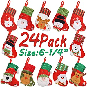 LimBridge Mini Christmas Stockings, 24 Pack 6.25 inches 3D Mixed Set Gift Card Bags Holders, Bulk Treats for Neighbors Coworkers Kids Cats Dogs, Small Rustic Felt Red Xmas Tree Decorations Set