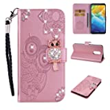 Amocase Wallet Case with 2 in 1 Stylus for LG Stylo 4/LG Q Stylus,3D Bling Gems Owl Magnetic Mandala Embossing Premium Strap PU Leather Card Slot Stand Case for LG Stylo 4/LG Q Stylus - Rose Gold