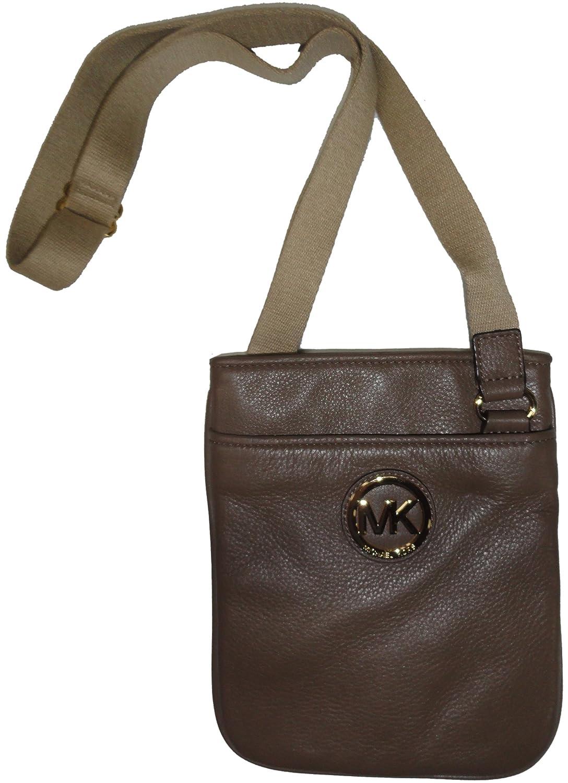 Amazon.com: Michael Kors Mk Fulton Leather Crossbody Bag Messenger in Dark  Dune: Shoes