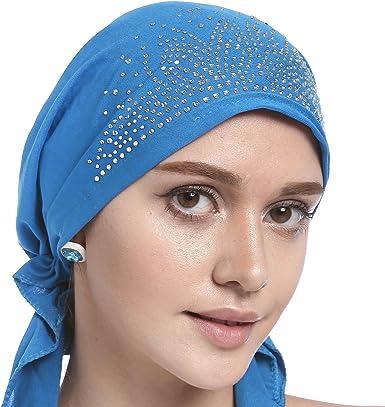 con teschio Cuffia a pieghe in cristallo stile etnico elasticizzata a bandana da donna