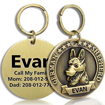 FunTags Bronze Breeds Customized Dog Head 3D Effect Dog ID Tag,High-Relief Copper Dog Tag,Personalized Stainless Steel Front&Back Laser Engraving Dog Name Tag