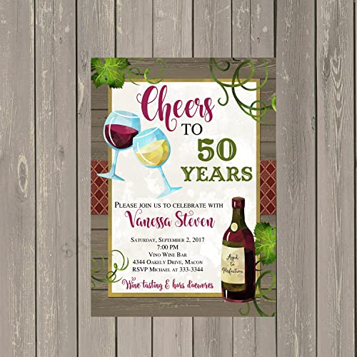 Amazon Com Wine Adult Birthday Party Invitation With Rustic