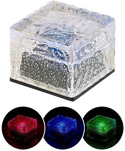 Design Glas Eis Würfel RGB LED Solar Leuchte Außen Deko Beleuchtung Farbwechsel