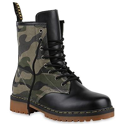52a513863c8851 Derbe Damen Stiefeletten Worker Boots Profilsohle Camouflage Stiefel Schnür  Animal Print Schuhe 126908 Camouflage 36 Flandell