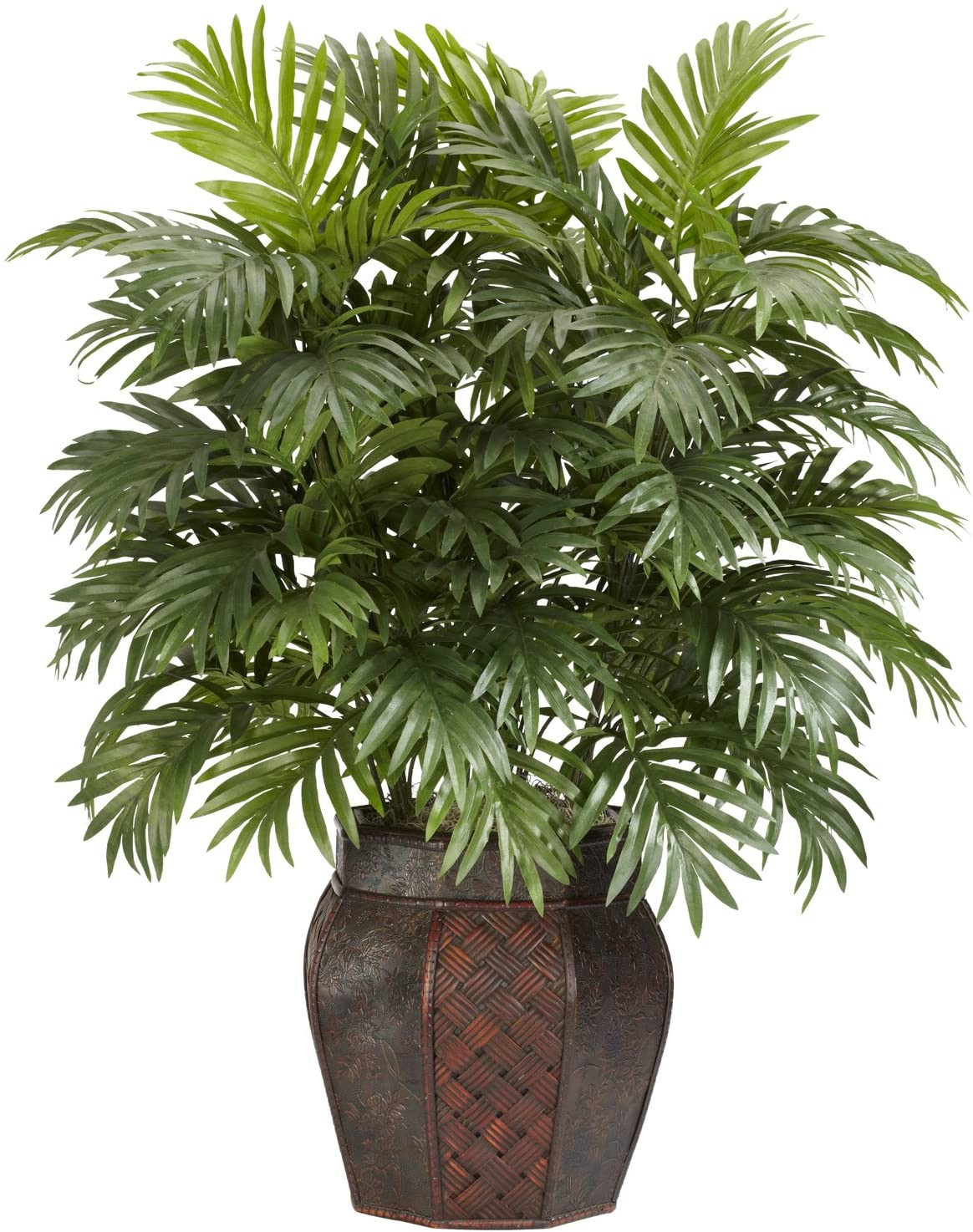 Amazon Com Nearly Natural Areca Palm With Vase Silk Artificial Plant 42 X 11 X 11 Green 6651 Home Kitchen