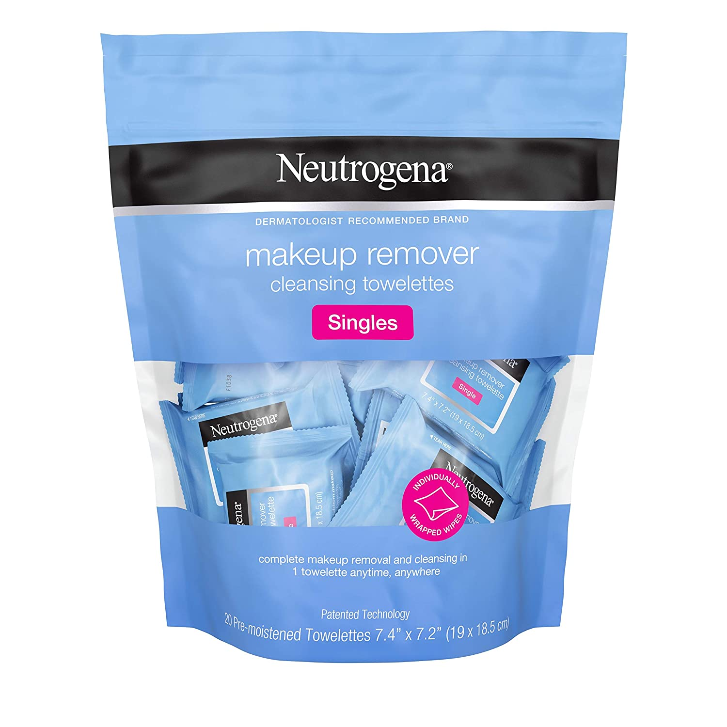 Neutrogena Makeup Remover Facial Cleansing Towelette Singles, Daily Face Wipes to Remove Dirt, Oil, Makeup & Waterproof Mascara, Gentle, Alcohol-Free, Individually Wrapped, 20 ct: Beauty
