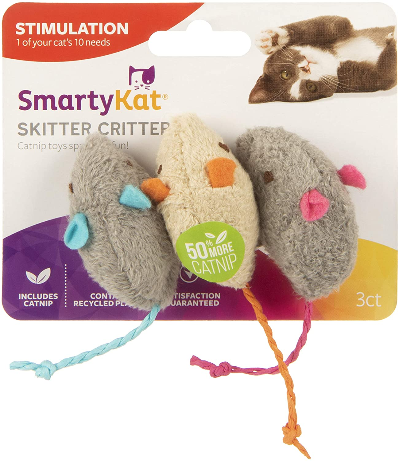 SmartyKat Skitter Critters Cat Toy Catnip Mice, 3/pkg : Pet Mice And Animal Toys : Pet Supplies