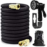"""98FT Expandable Garden Hose, Water Hose with 8 Function Hose Nozzle, Extra Strength Fabric, 3/4"""" Solid Brass Fittings, Lightw"""