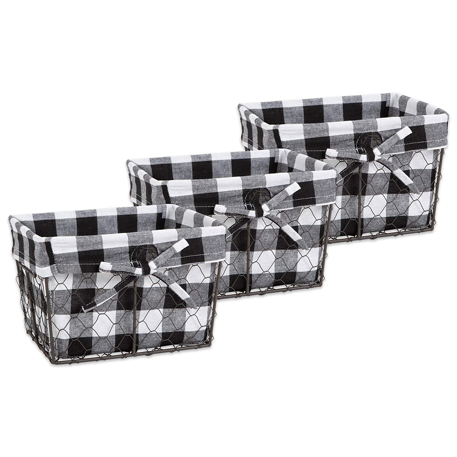 DII Z02321 Vintage Food Safe Metal Chicken Wire Storage Baskets with Removable Fabric Liner for Home Décor or Kitchen Use, Set of 3, Black & White Check