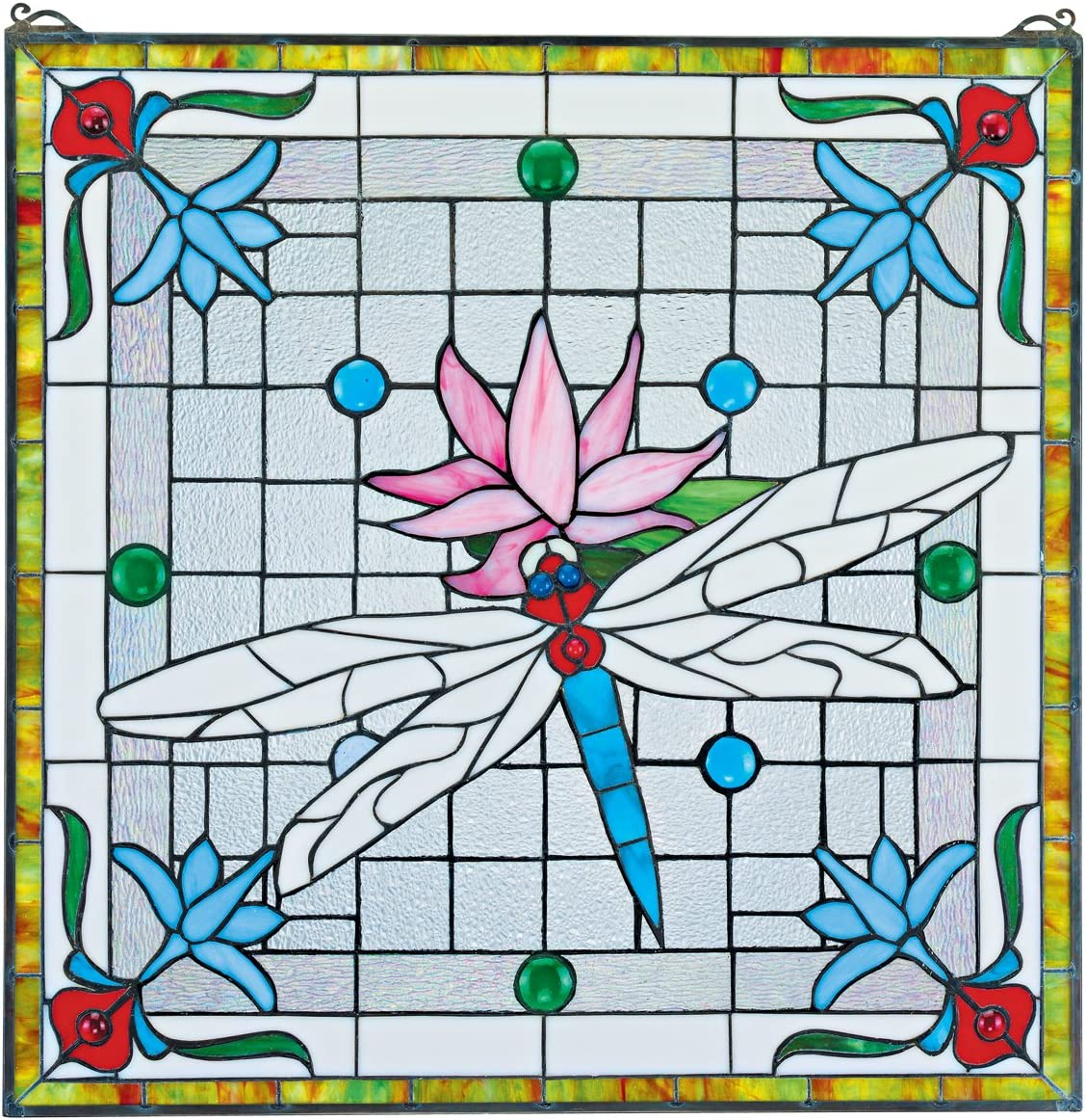 Stained Glass Panel – Dragonfly Pond Stained Glass Window Hangings – Window Treatments