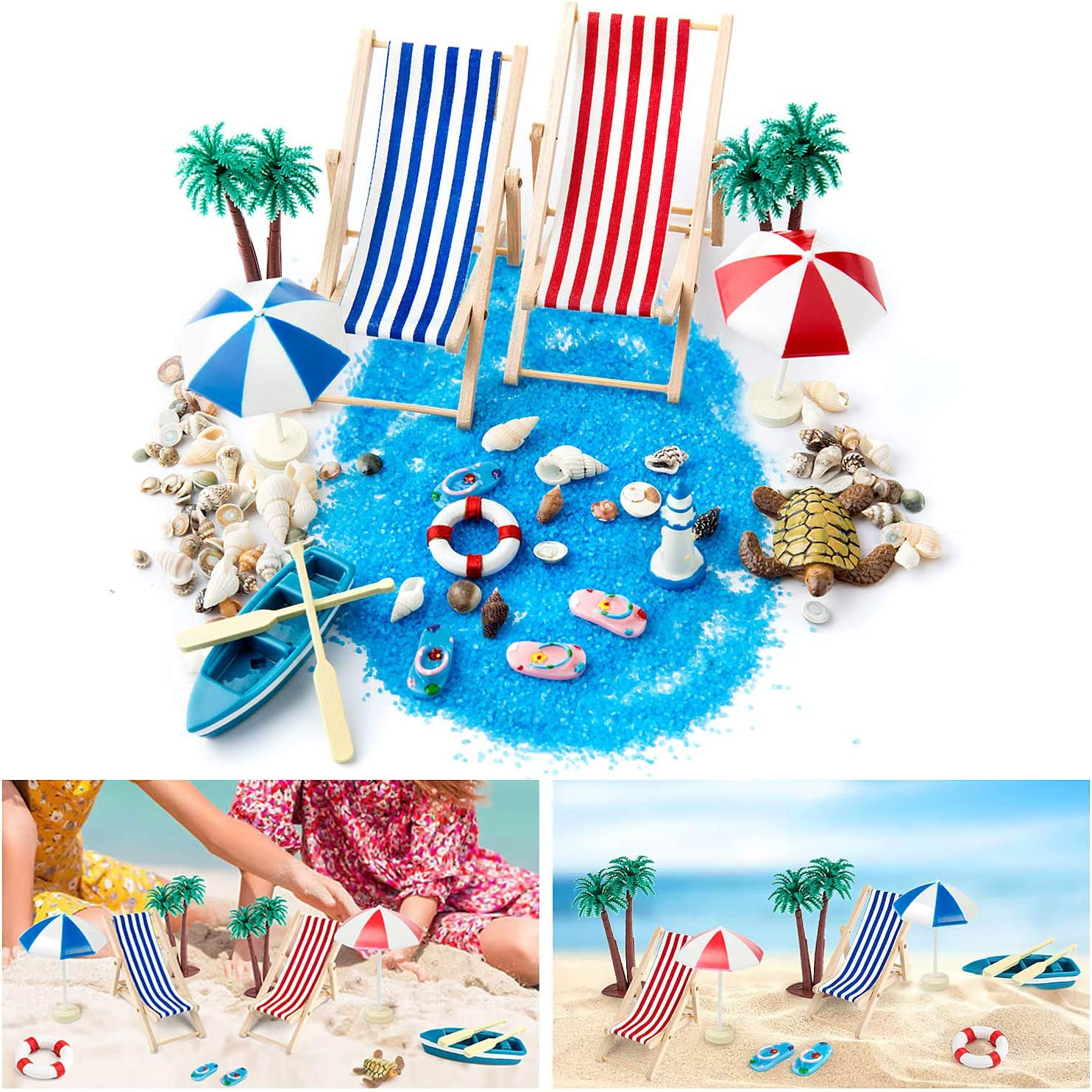 WolinTek 15 Piezas Playa Estilo Kits Set para DIY Figura Decorativa en Miniatura jardín de Hadas decoración para muñecas, Azul Arena, para Las Regalo de Niños, Silla de Playa, Playa Paraguas