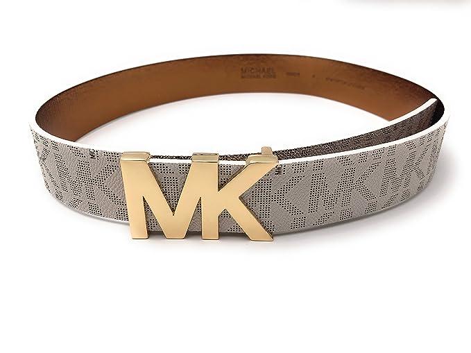 molti alla moda vendita professionale qualità Michael Kors MK Logo Vanilla Belt With Gold MK Buckle,Small ...