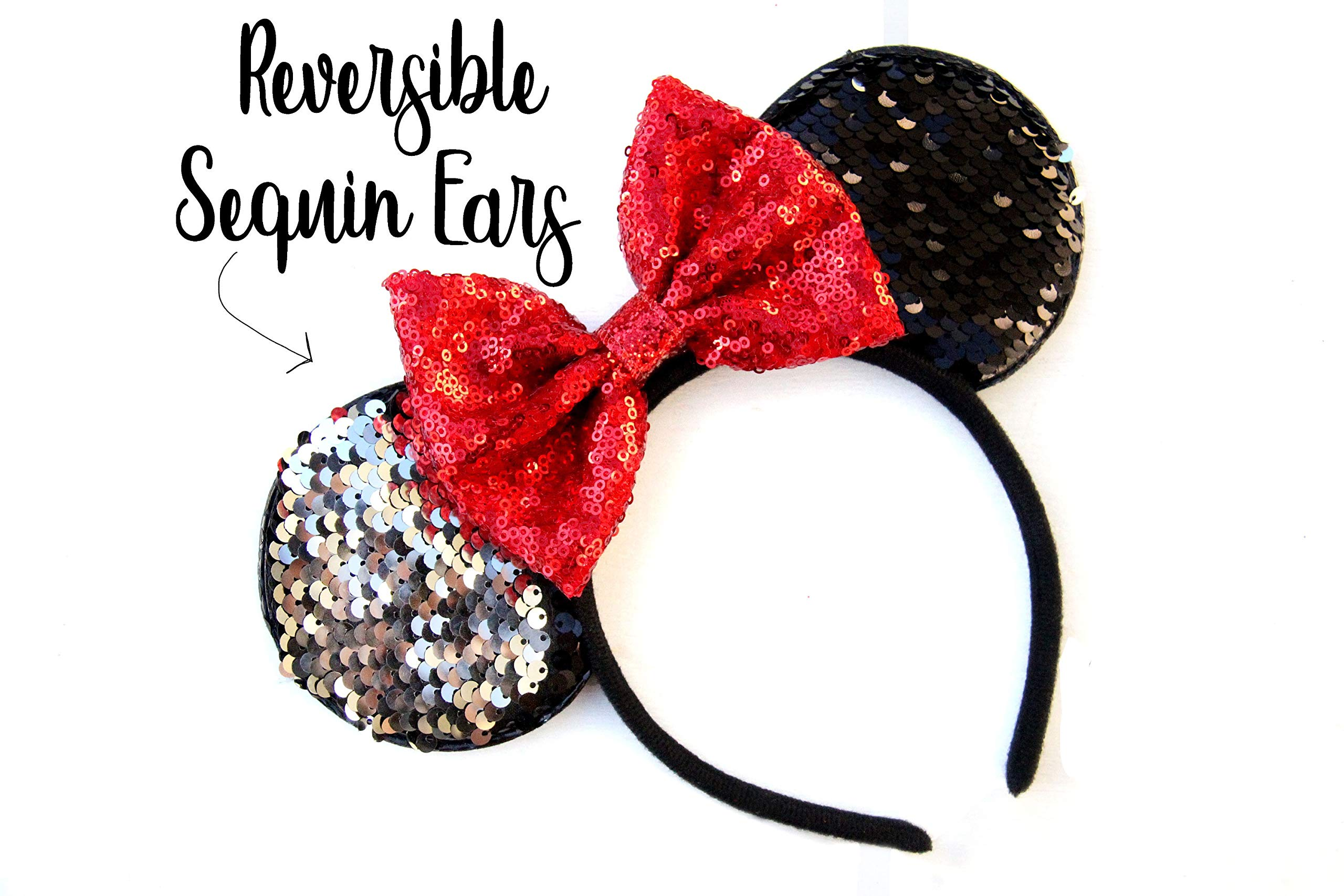 CLGIFT Reversible Mickey Ears, Red Mickey Ears, Sparkly Minnie Ears, Mouse Ears, Reversible Sequin, Red minnie ears