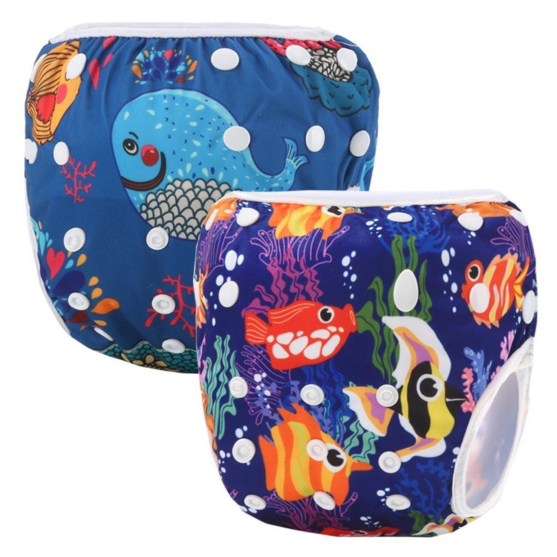 Storeofbaby Reusable Baby Swim Diapers Adjustable Nappies Stylish Pattern Swimwear Swimpant_2_4_EU