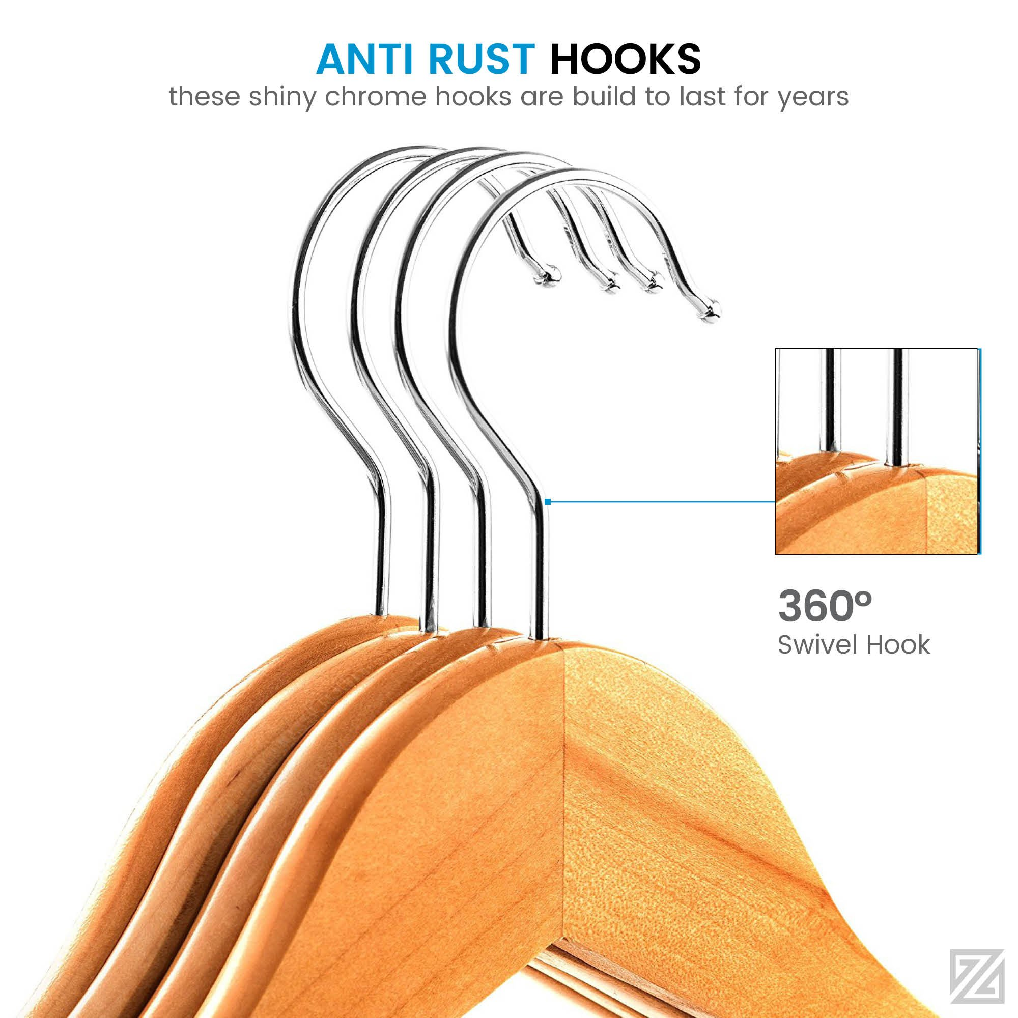 High Grade Lotus Wooden Hangers – 20-pack - Solid Wood Suit Hangers With Extra Smooth Finish, 360 Degree Swivel Hook Non-Slip Bar and Precisely Cut Notches for Coats, Jacket, Pants, and Dress Clothes by ZOBER (Image #3)