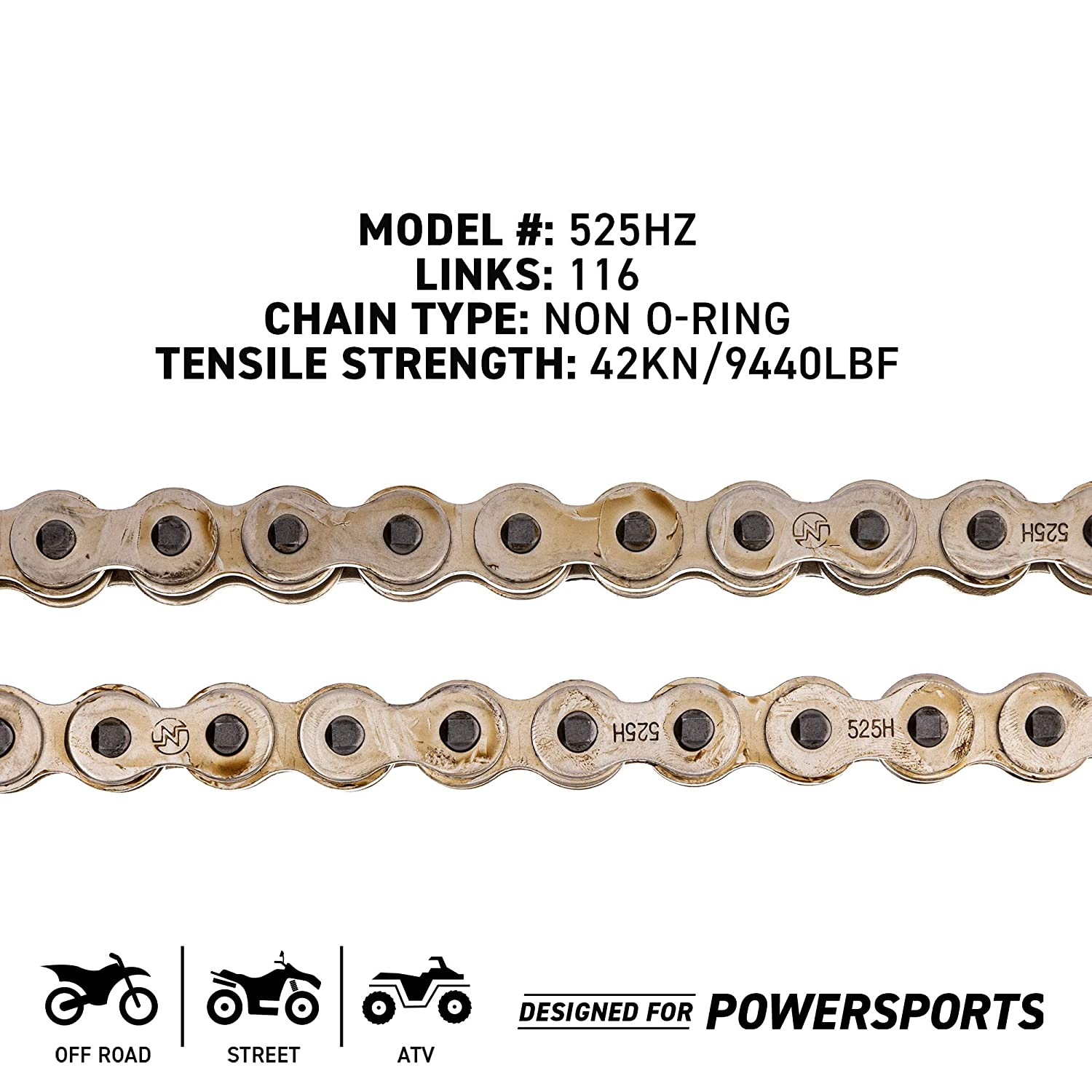 Niche 525 Drive Chain 116 Links Standard Non O-Ring with Connecting Master Link