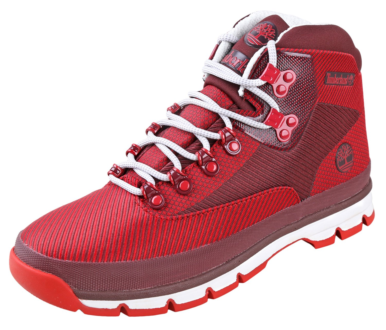 Timberland EURO Hiker Jacquard Medium Red Jacquard Mens Lace-Up Boots Size 9M