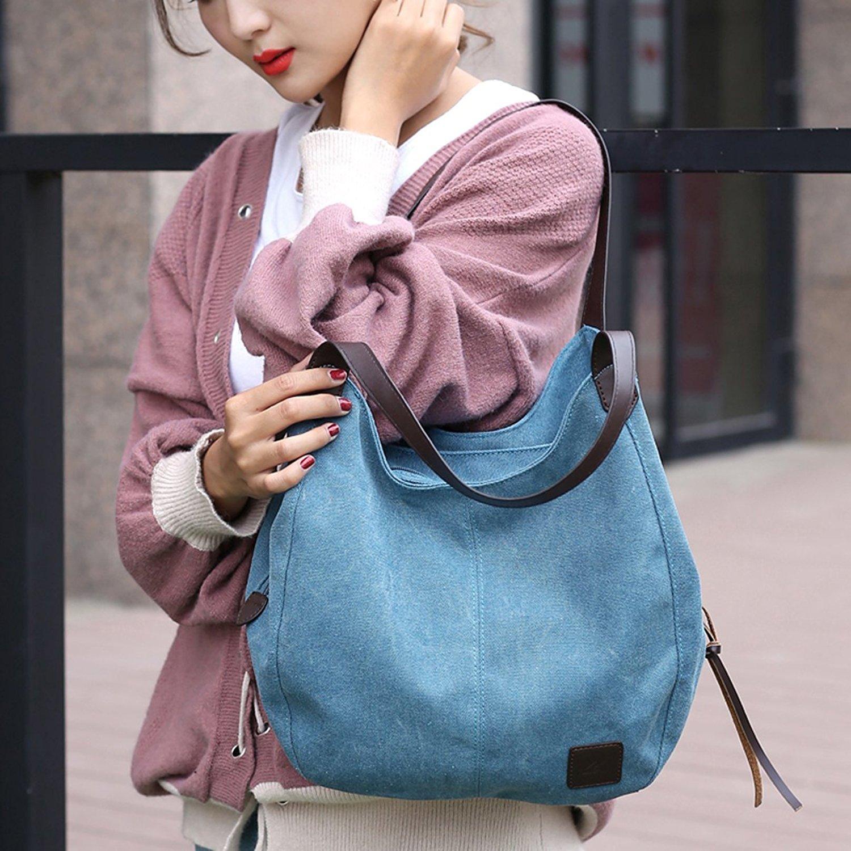 Fashion Women's Multi-pocket Cotton Canvas Handbags Shoulder Bags Totes Purses (1317 blue) by YZHYXS (Image #4)