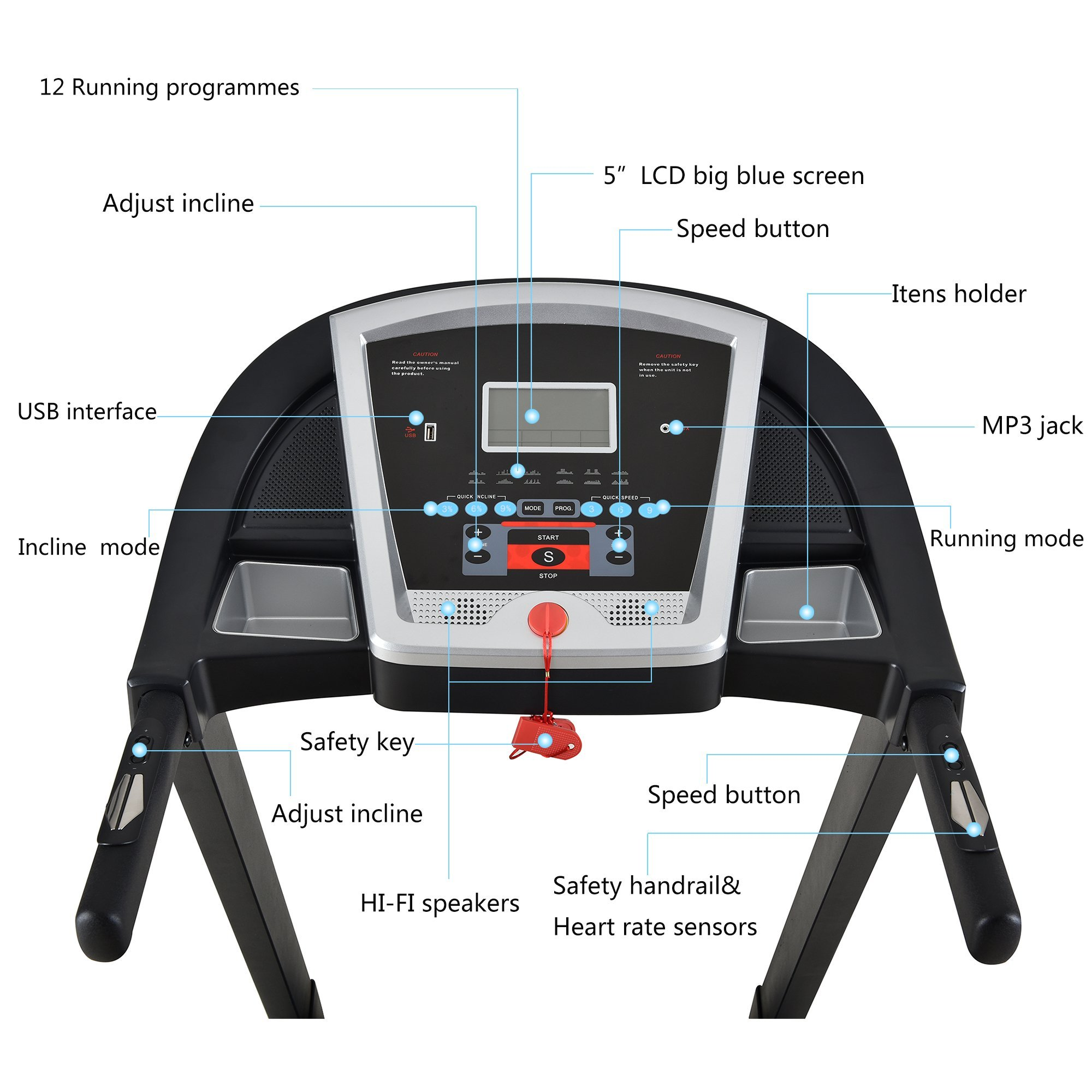 Treadmill Portable Folding Running Machine Indoor Commercial Home Health Fitness Training Equipment (US STOCK) by Shayin (Image #3)