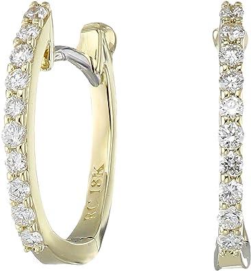 Amazon Com Roberto Coin Women S Baby Diamond Hoop Earrings Yellow