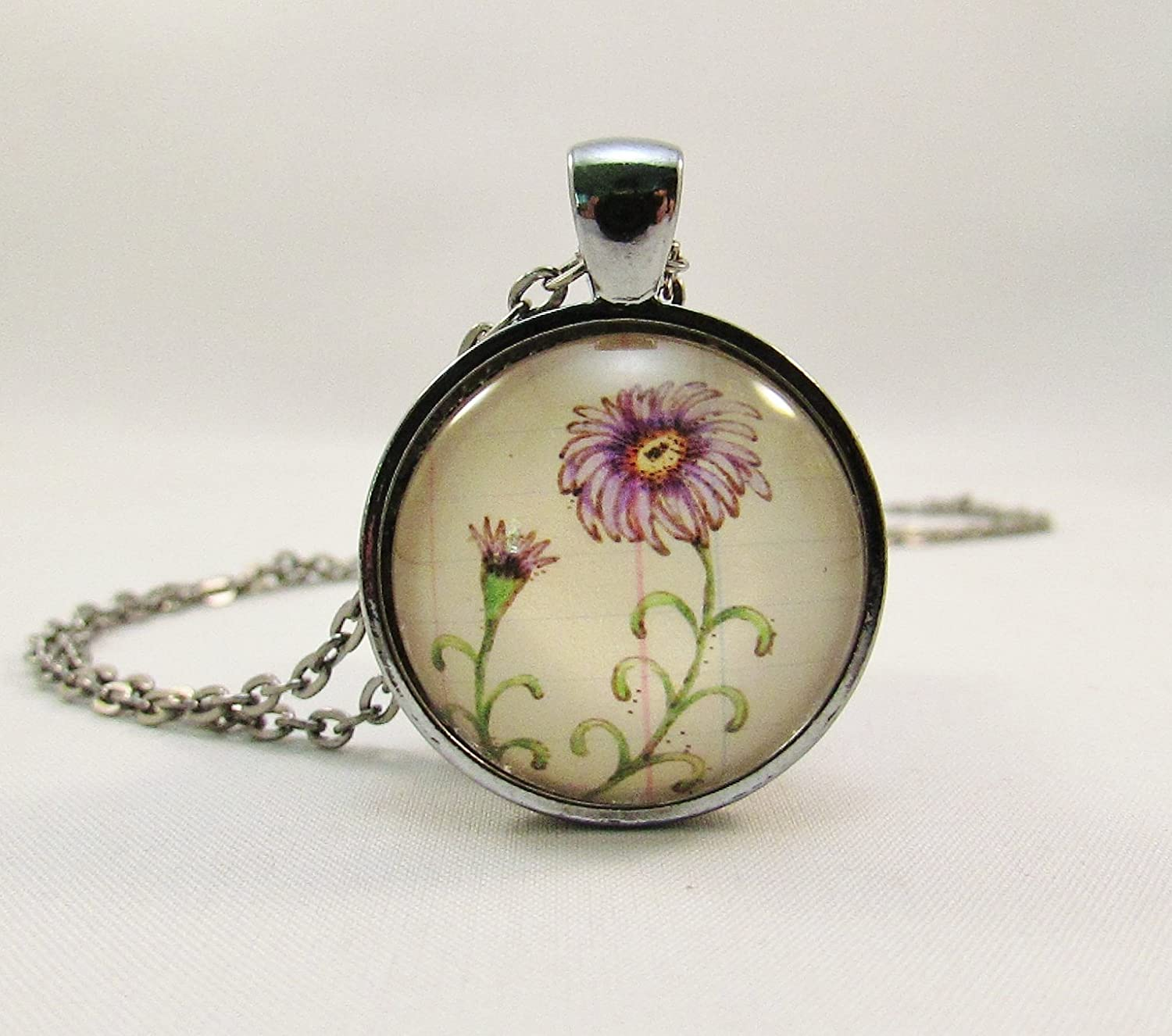 Birthday Month Flower September Aster Necklace Round Glass Pendant
