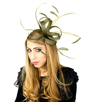 Olive Green Feather and Sinamay Fascinator Hat 136 at Amazon Women s ... c8cef06524a