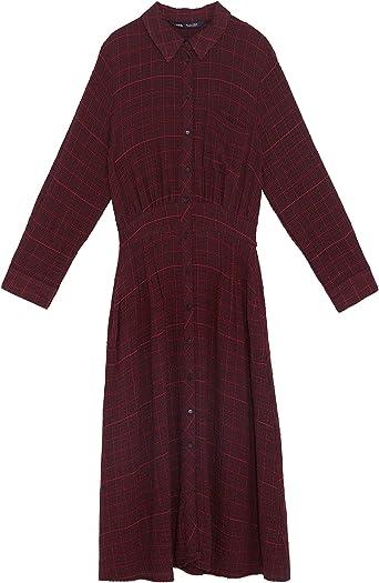 Zara 3564/072 Vestido de Camisa a Cuadros para Mujer - Rojo - X-Large: Amazon.es: Ropa y accesorios