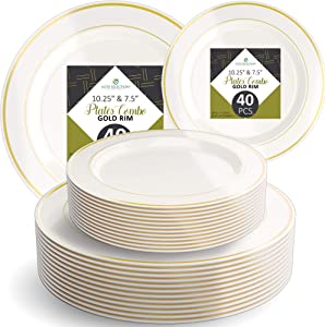 "Disposable Plastic Plate Set - 40 Pack Cream Dinnerware with 10.25"" Dinner and 7.5"" Salad Plate with Elegant Gold Double Trim for Wedding, Birthday, Party - by Elite Selection"