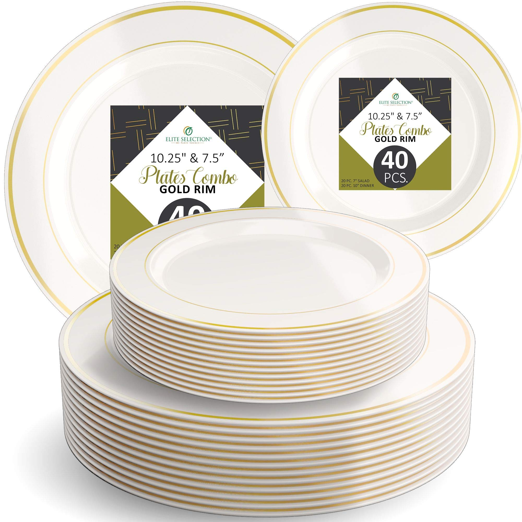 Disposable Plastic Plate Set - 40 Pack Cream Dinnerware with 10.25'' Dinner and 7.5'' Salad Plate with Elegant Gold Double Trim for Wedding, Birthday, Party - by Elite Selection