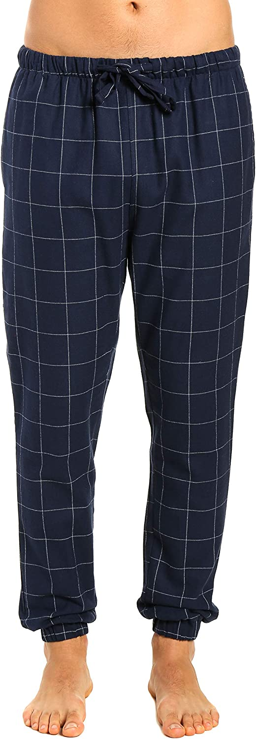 Noble Mount Mens 100% Cotton Flannel Jogger Lounge Pants